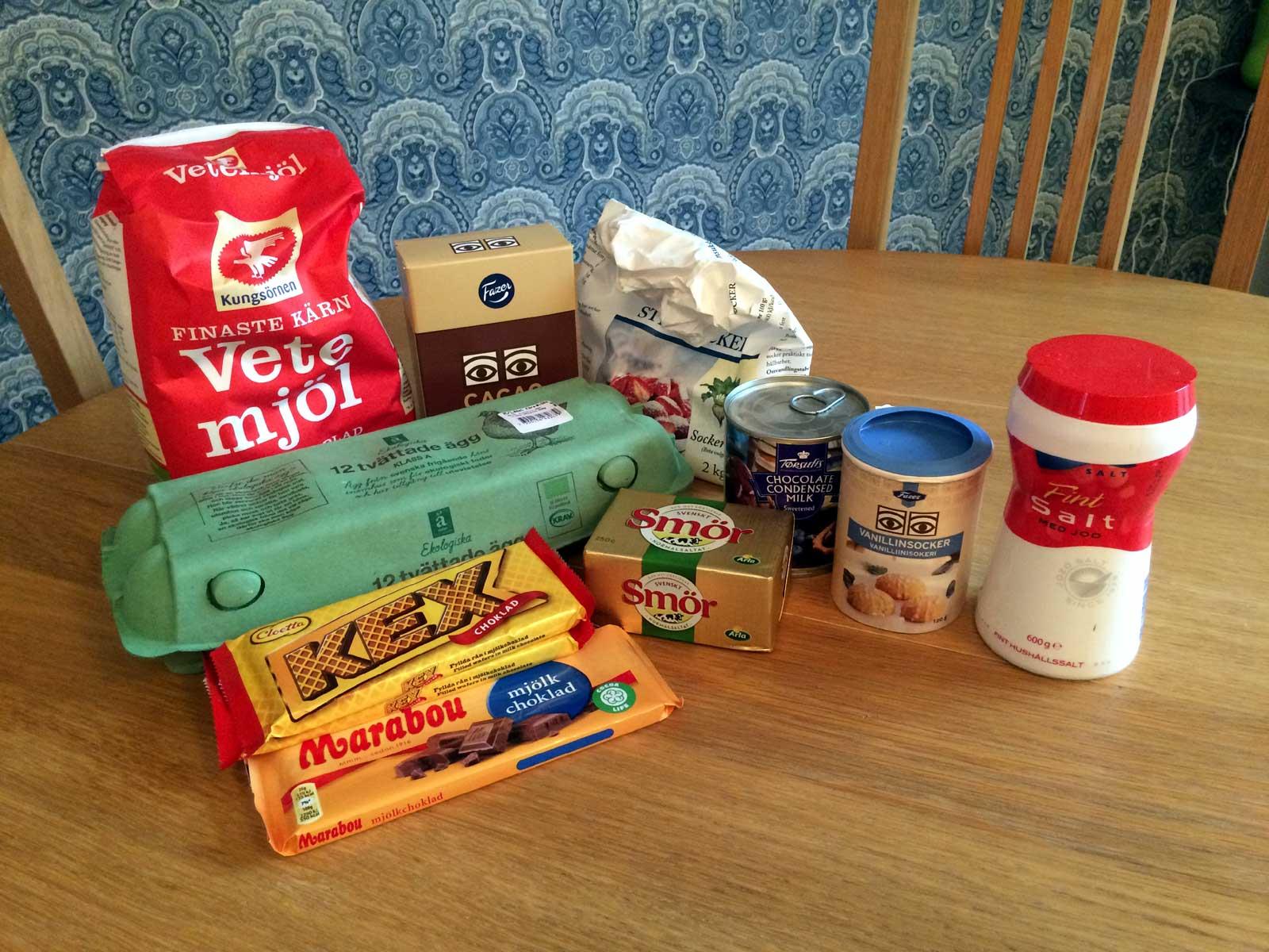 Ingredienser till kexchokladkladdkaka