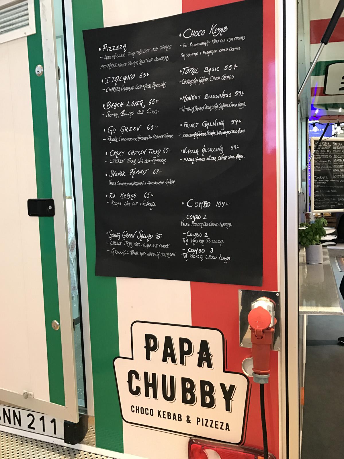 Papa Chubby's meny med pizza och chokladkebab